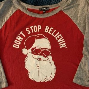 Like New - Don't Stop Believing Santa Shirt 🎅🏼